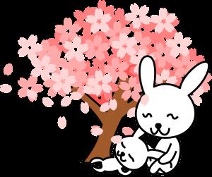 Bunnies under a tree